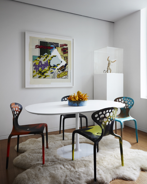Robert Stilin Interiors Dinign Room With Saarinen Table & Pop Art