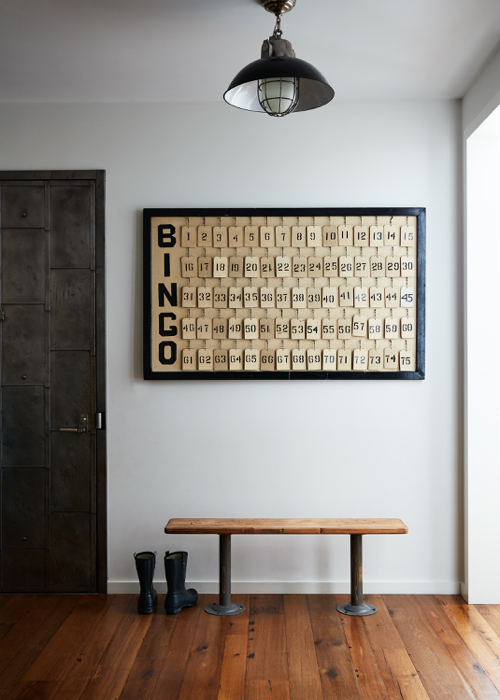 Robert Stilin Interiors Entryway With Bench And Bingo Art