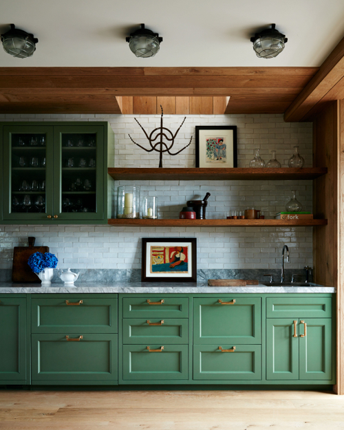 Robert Stilin Interiors Green Kitchen Cabinets Wood Floating Shelves