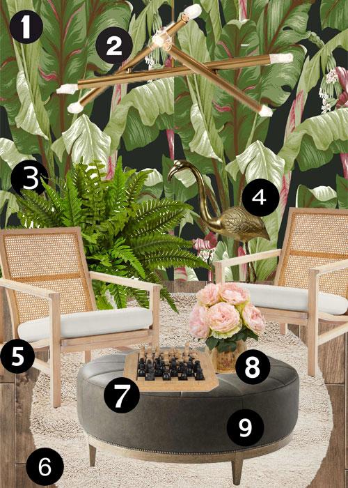 Cortney Bishop Tropical Sitting Room Design