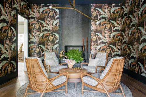 Cortney Bishop Tropical Decor Palm Leaf Wallpaper Sitting Room