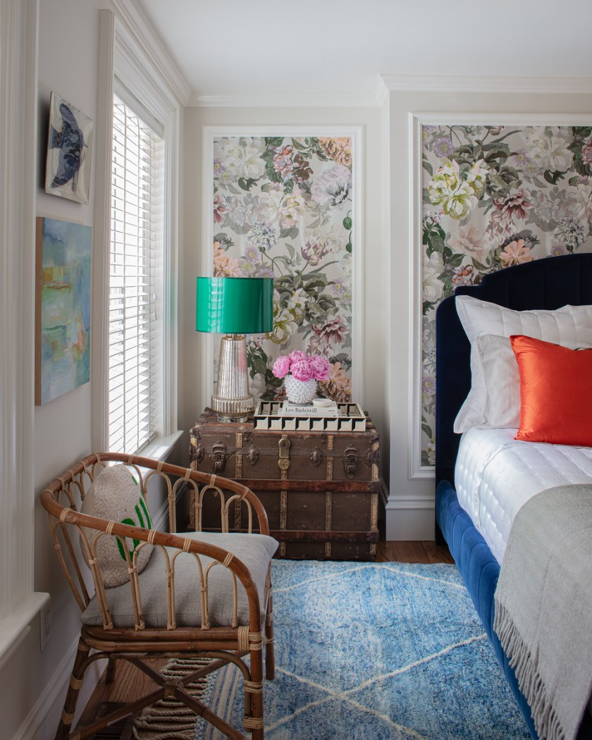 Bedroom With Floral Wallpaper And Blue Velvet Bed