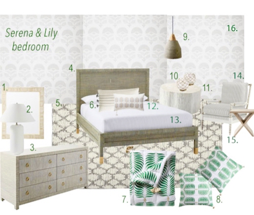 Serena & Lily Green Neutral Bedroom Scheme With Granada Quilt