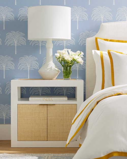 Serena & Lily Fall 2021 Blue Wallpaper for the Bedroom