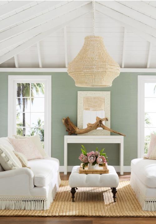Serena & Lily Beaded Chandelier Coastal Decor Fringed Sofa