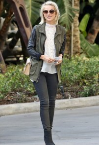 Jet by John Eshaya Leather Sleeve Army Jacket in Army Black - as seen on Julianne Hough