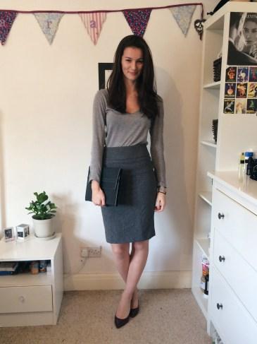 Look 2: H&M Conscious vest top, Wills wine vegan heels, Matt & Nat clutch