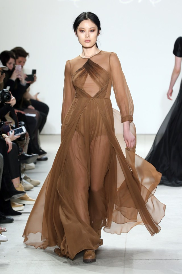 NEW YORK, NY - FEBRUARY 13: A model walks the runway wearing Leanne Marshall Fall 2016 during New York Fashion Week: The Shows at The Gallery, Skylight at Clarkson Sq on February 13, 2016 in New York City. (Photo by Neilson Barnard/Getty Images For Leanne Marshall)