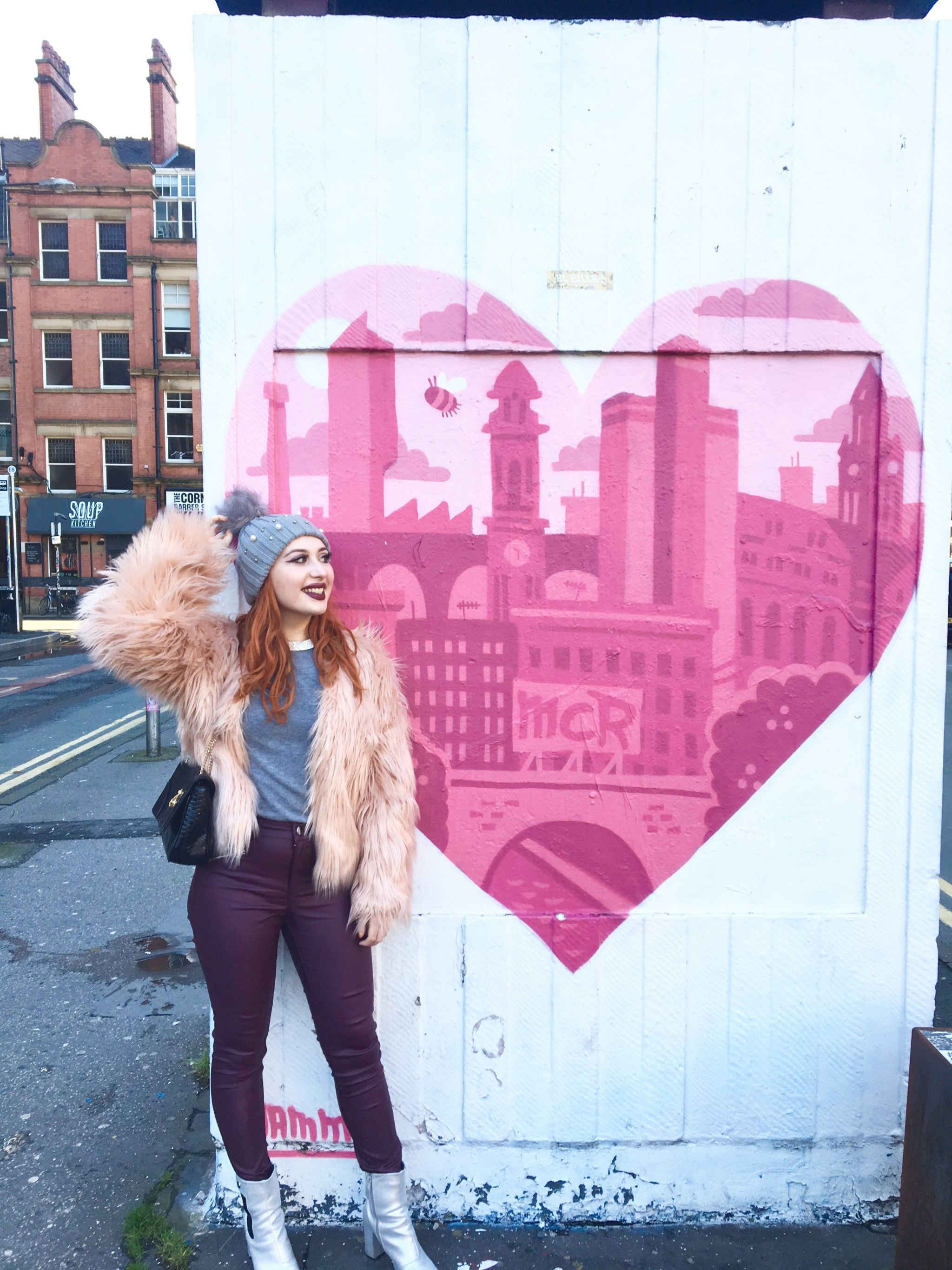 Blogger Twenty-Something City in Northern Quarter, Manchester wearing faux fur coat from Shein, talking about style confidence