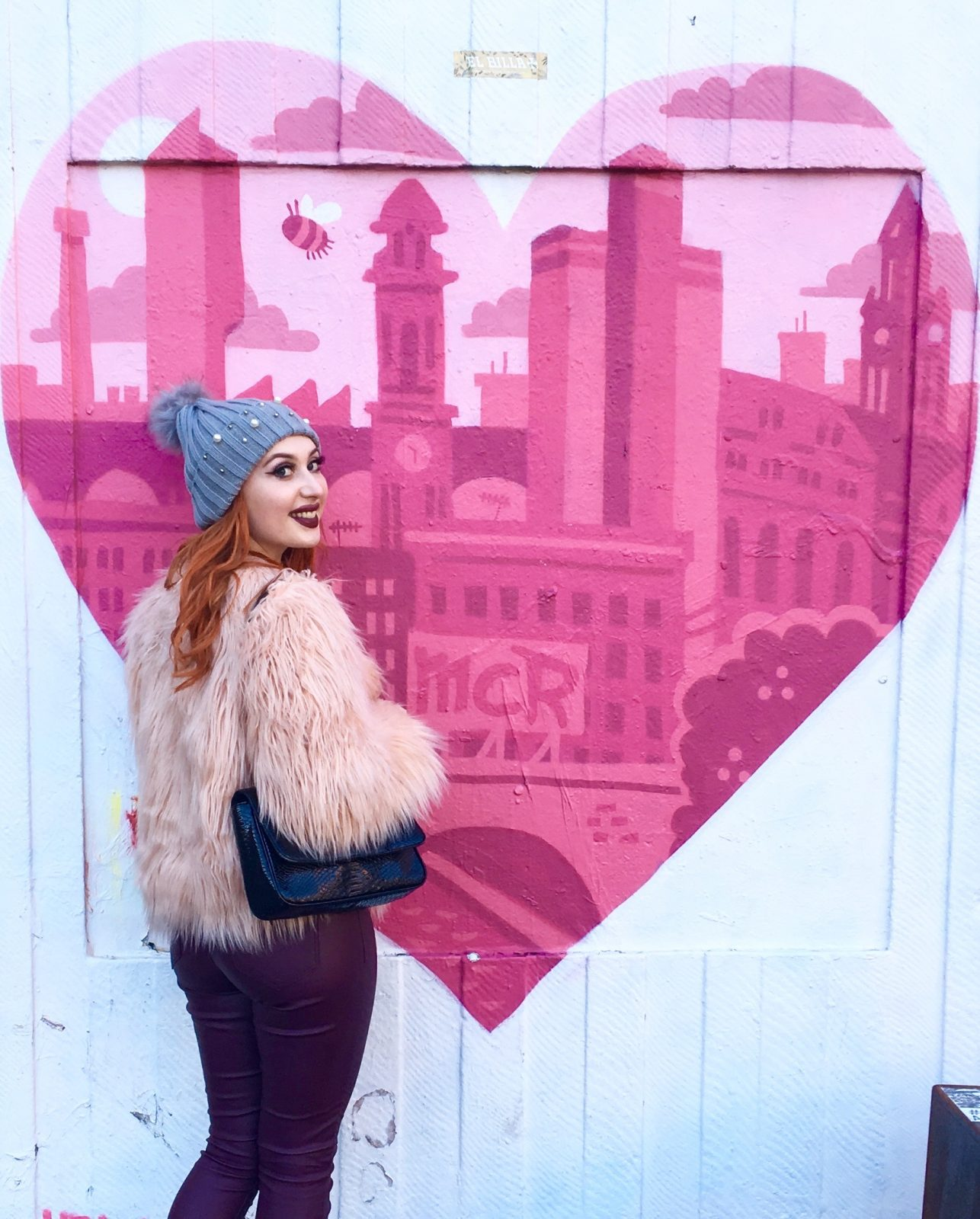 Blogger Twenty-Something City in Northern Quarter, Manchester wearing Shein faux fur coat, talking about style confidence
