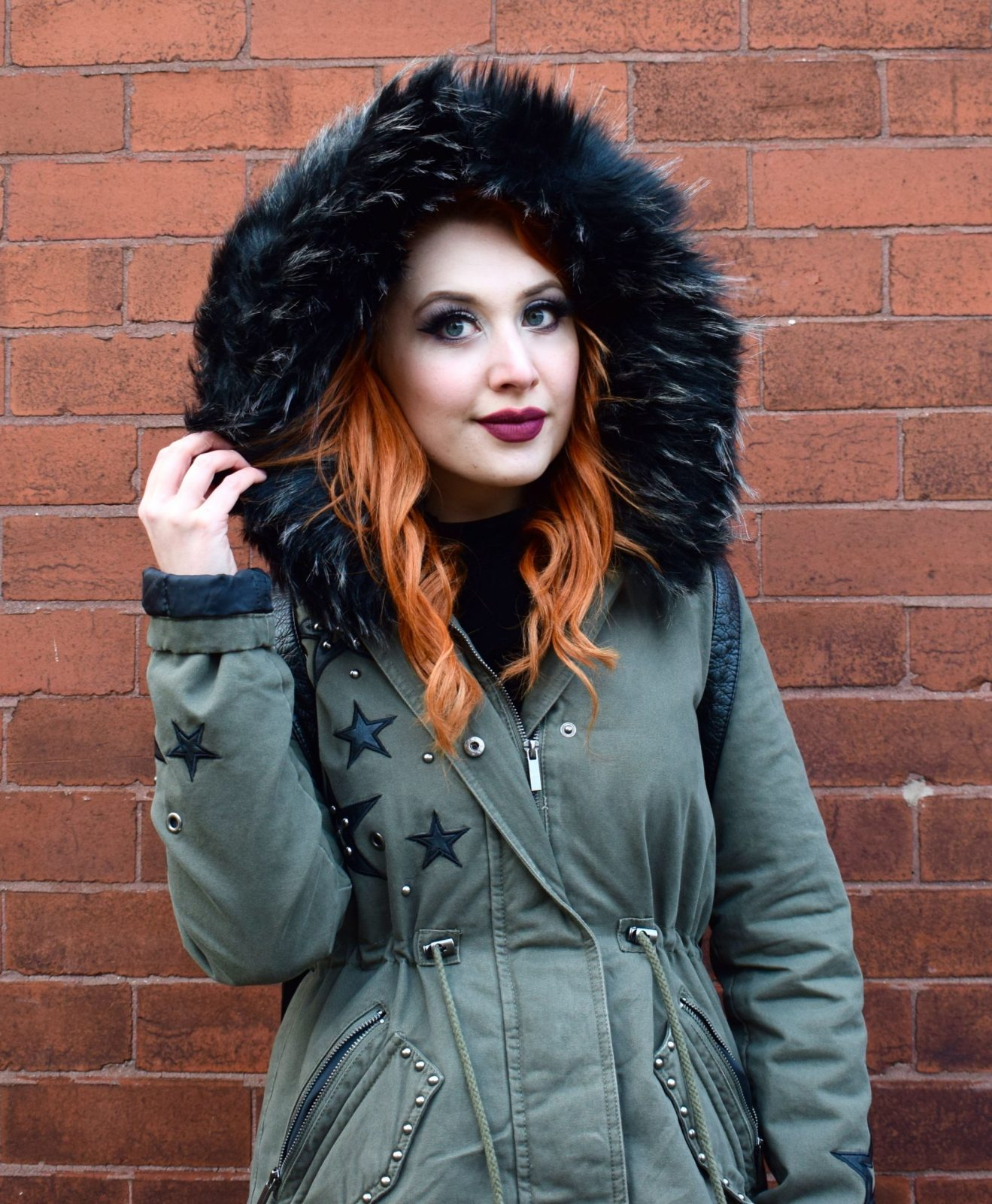 Blogger Twenty-Something City wearing faux fur hood parka coat from New Look