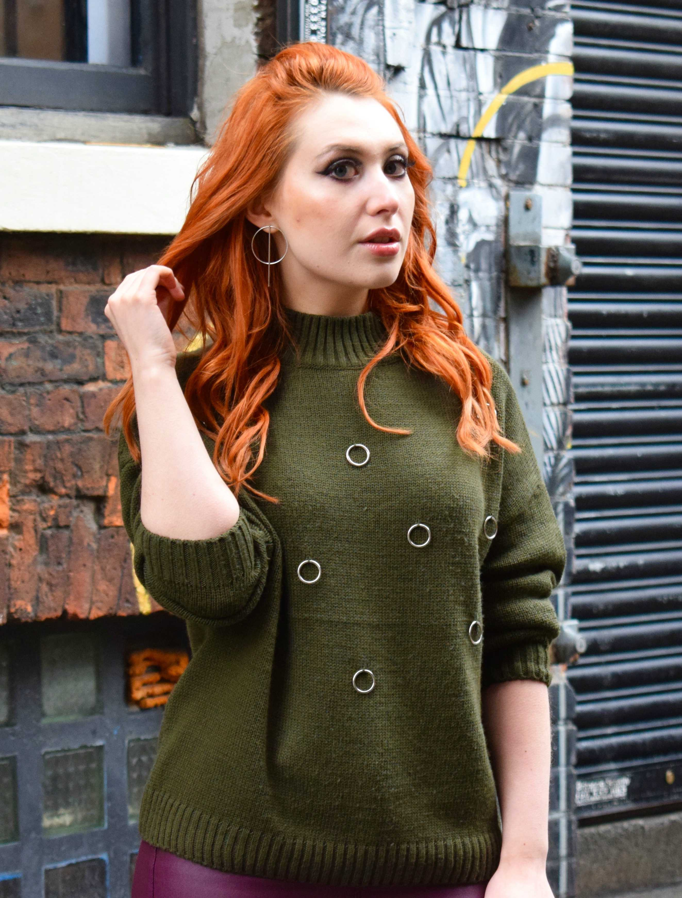 Twenty-Something City in cosy smart-casual khaki jumper in Northern Quarter Manchester