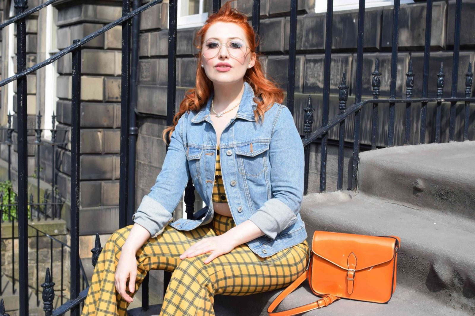 Blogger Twenty-Something City wears iKrush summer yellow check co ord