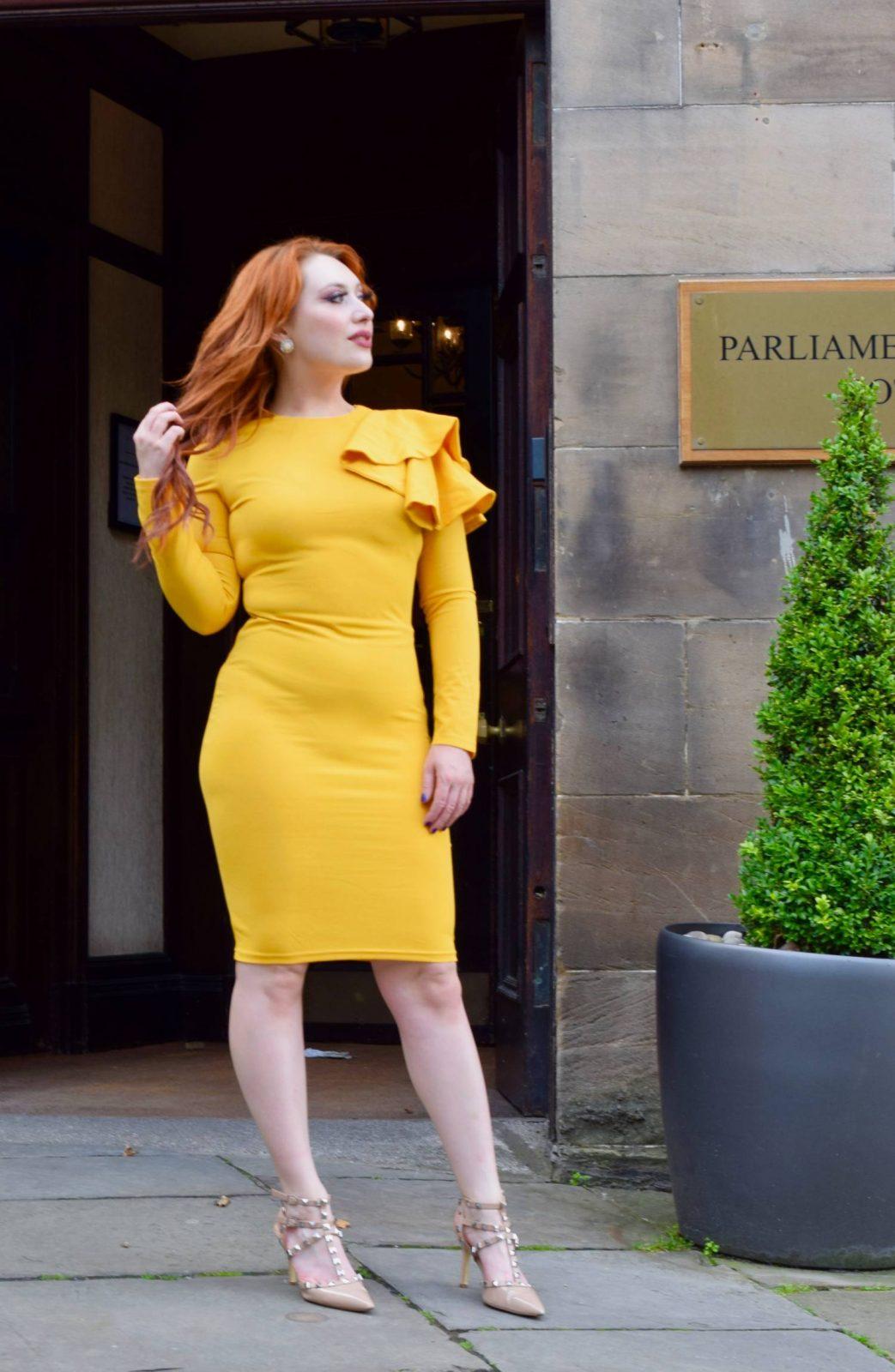 Twenty-Something City yellow ruffle midi dress