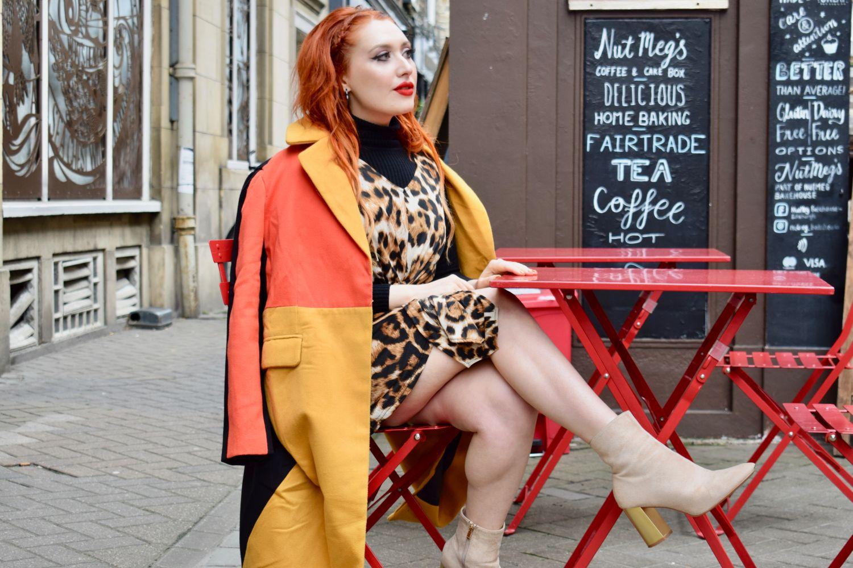 Edinburgh blogger Twenty-Something City in colourblock coat on Rose St