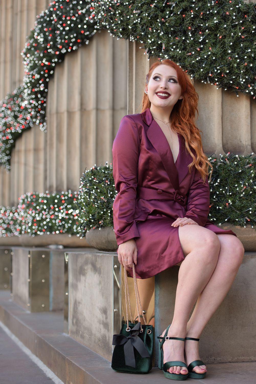 Scottish blogger Twenty-Something City Christmas dress at The Dome Edinburgh wearing Boohoo burgundy blazer dress