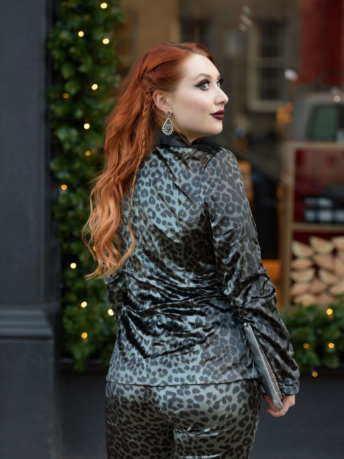 Scottish blogger Twenty-Something City Christmas velvet leopard suit