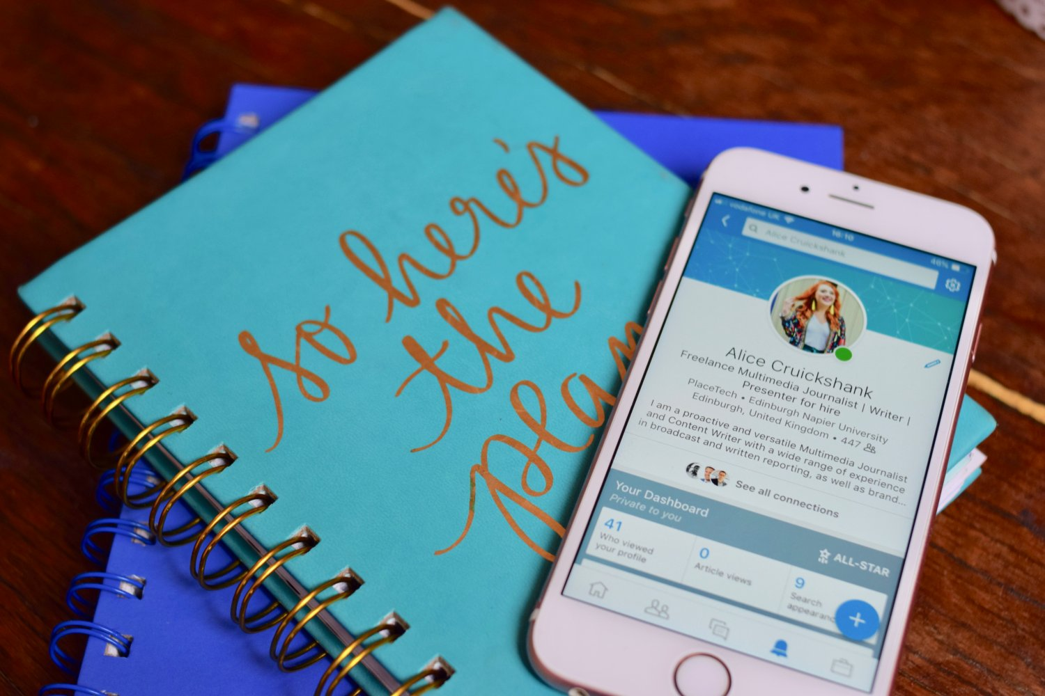 Twenty-Something City LinkedIn tips with diary and iPhone