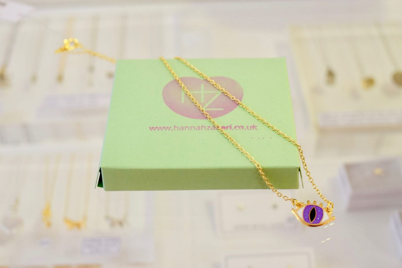 Buried Diamond purple eye necklace at Hannah Zakari Edinburgh