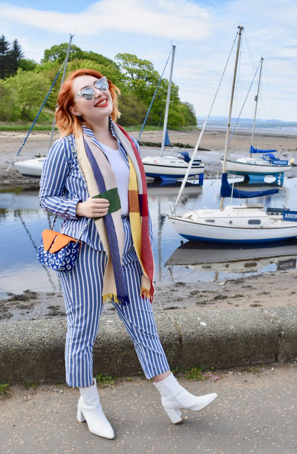 Scottish fashion blogger Styled by Alice wears striped co ord suit and scarf