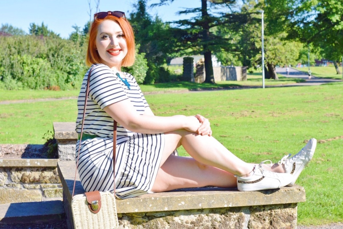 Scottish ethical fashion blogger Styled by Alice wears striped organic cotton dress from People Tree for summer