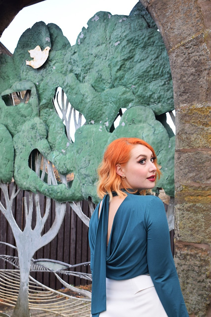 Close up of People Tree cowl back tencel blouse, worn by ethical stlye blogger Alice