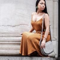 Vintage Vibes: Gold Pleated Dress, Vintage Judith Lieber Medallion Belt, Suede Platform Lace-Up Sandals, Grey Saddle Bag and Beaded Flutter Earrings