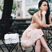 Summer Weddings: Peach Eyelet Lace Halter Dress, White Pinko Love Bag, Nude Woven Point Toe Pumps and Tom Ford Cat Eye Sunglasses