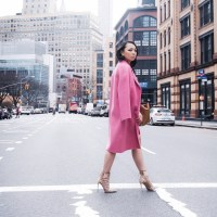 Pretty in Pink: Pink and Red Color Block Lace Dress, Long Wool Pink Coat, Valentino Rockstud Tote, Aquazzura Amazon Pumps and Black Cat-Eye Sunglasses