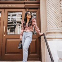 Easy Transitions: Pink Plaid Puff Sleeve Top, Mom Jeans, and YSL Slides