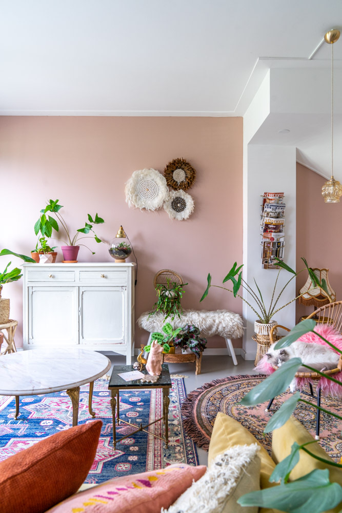 oud roze muurverf