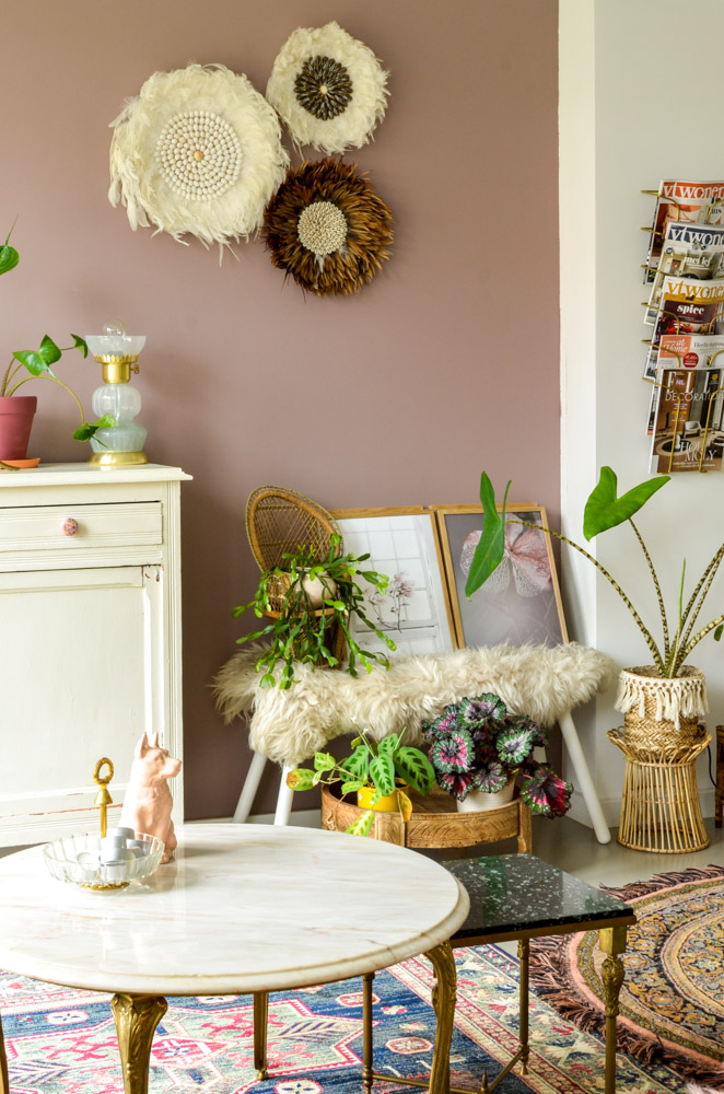 roze marmeren salontafel