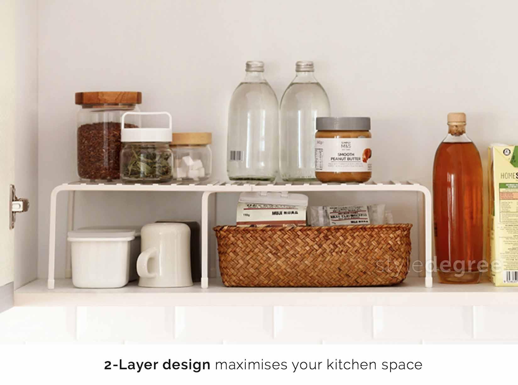 kitchen organizer corner nook extendable rack style degree cabinet tabletop organiser pot pans utensils holder sg singapore