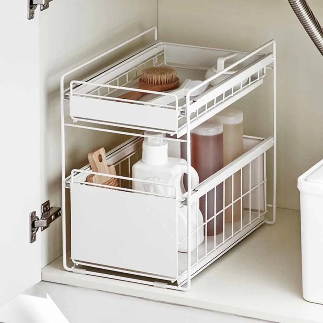 dual sliding under sink countertop storage organizer kitchen racks style degree