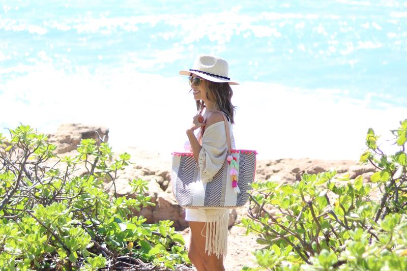 Sondra Roberts Striped Ball Fringe Tote, Jaylene Malley Summer Accessories, Beach Bag, Summer 2017, Cute beach bag, Best beach tote