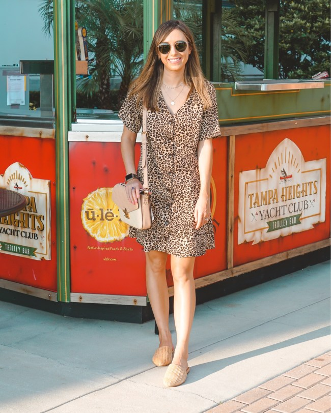 pink lily leopard dress with woven mules
