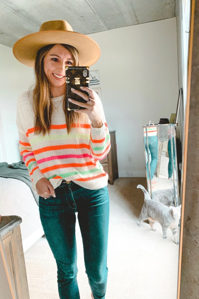 pink lily neon stripe sweater