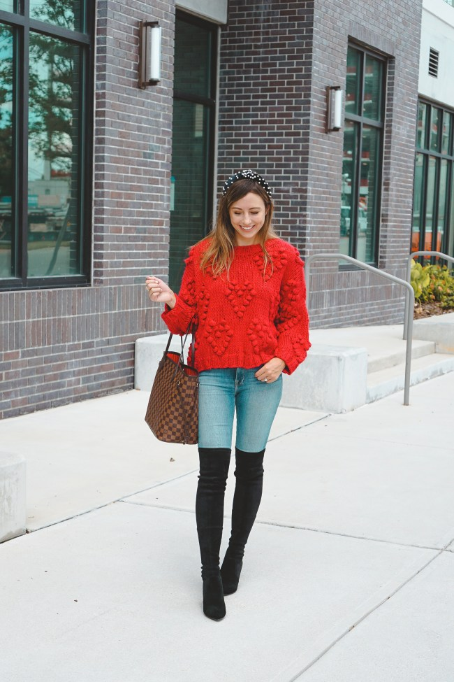goodnight macaroon red heart sweater with goodnight macaroon over the knee boots