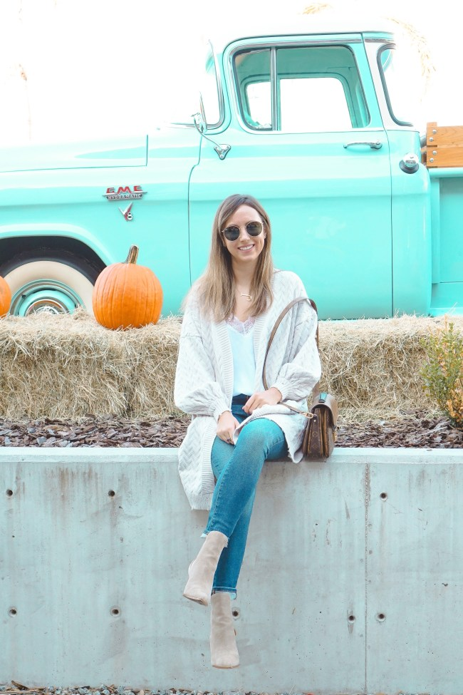 chicwish puff sleeve cardigan with pumpkins