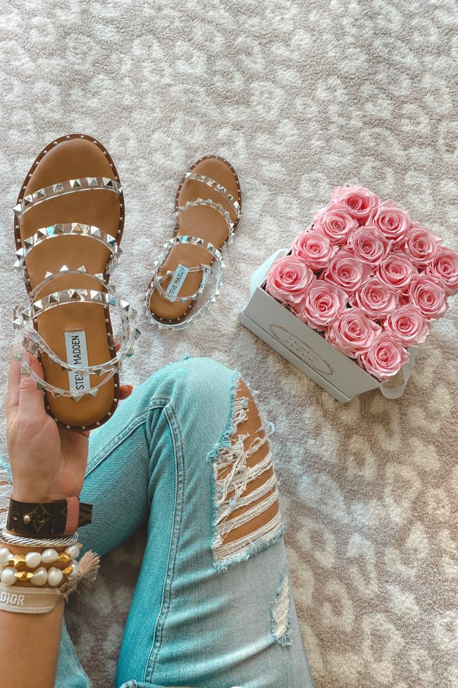steve madden travel clear sandals with roses