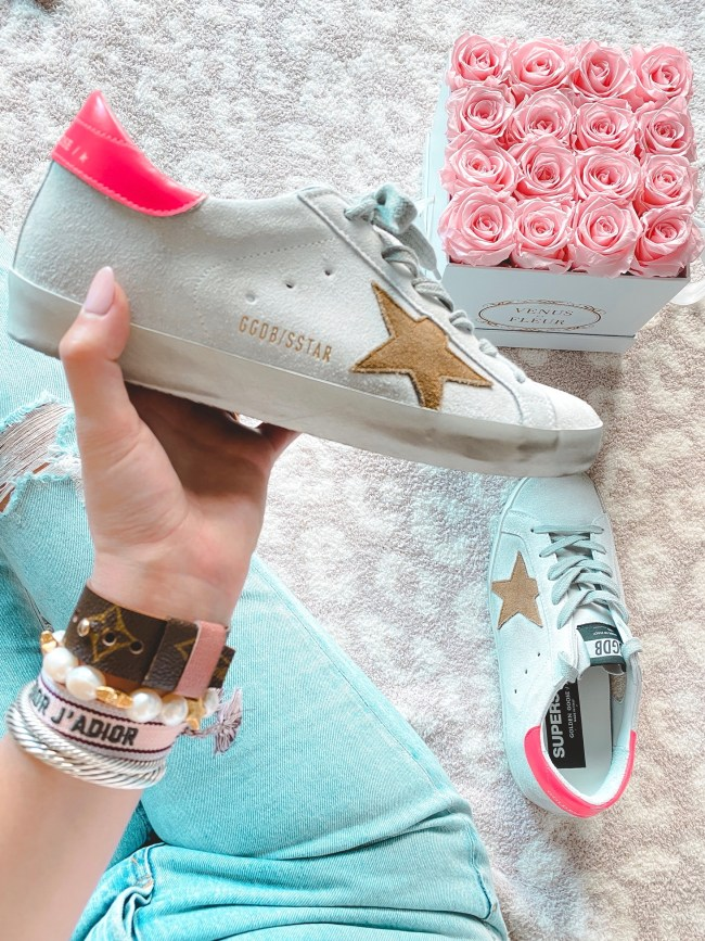 roses with tan star pink back golden goose sneakers
