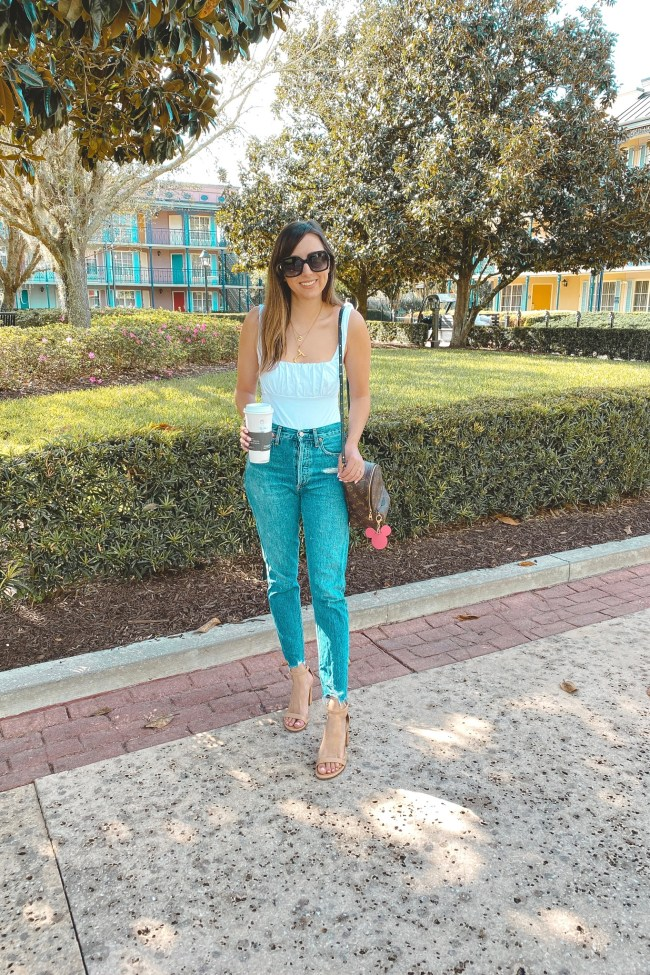 lovers and friends jessie bodysuit with agolde jeans and starbucks