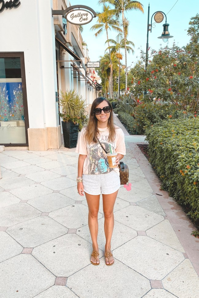 daydreamer janis joplin tee with aerie sunday shorts and louis vuitton palm springs