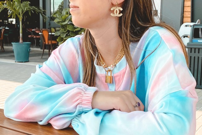amazon tie dye set with louis vuitton lock necklace and chanel earrings
