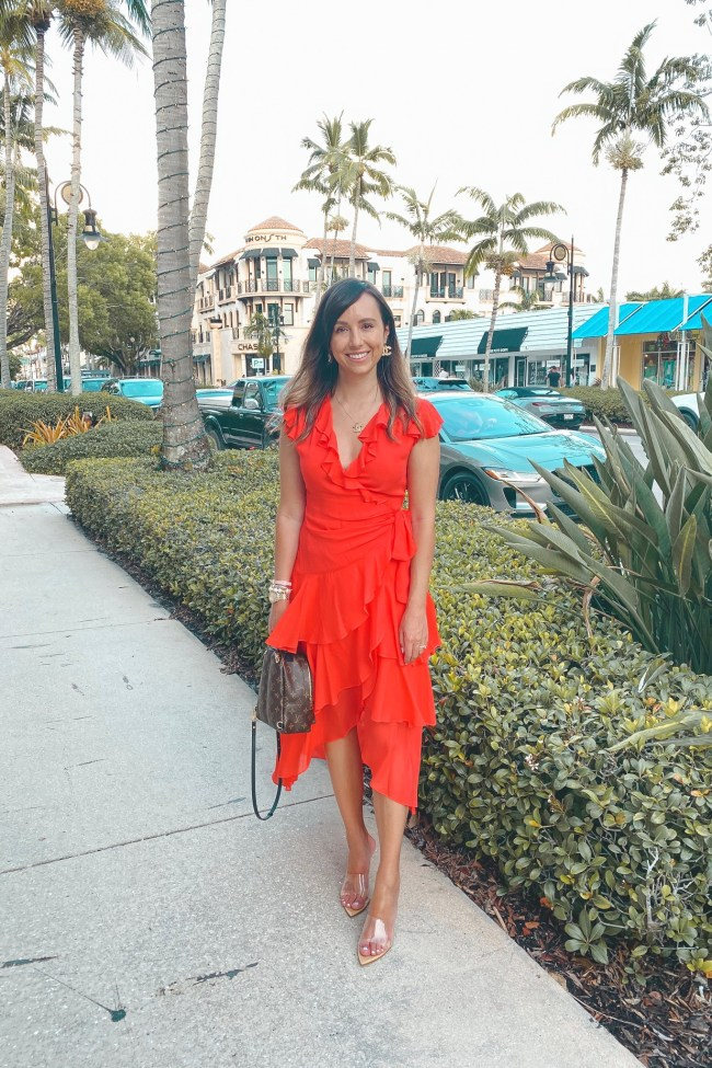 hale bob red dress with louis vuitton palm springs and clear heels