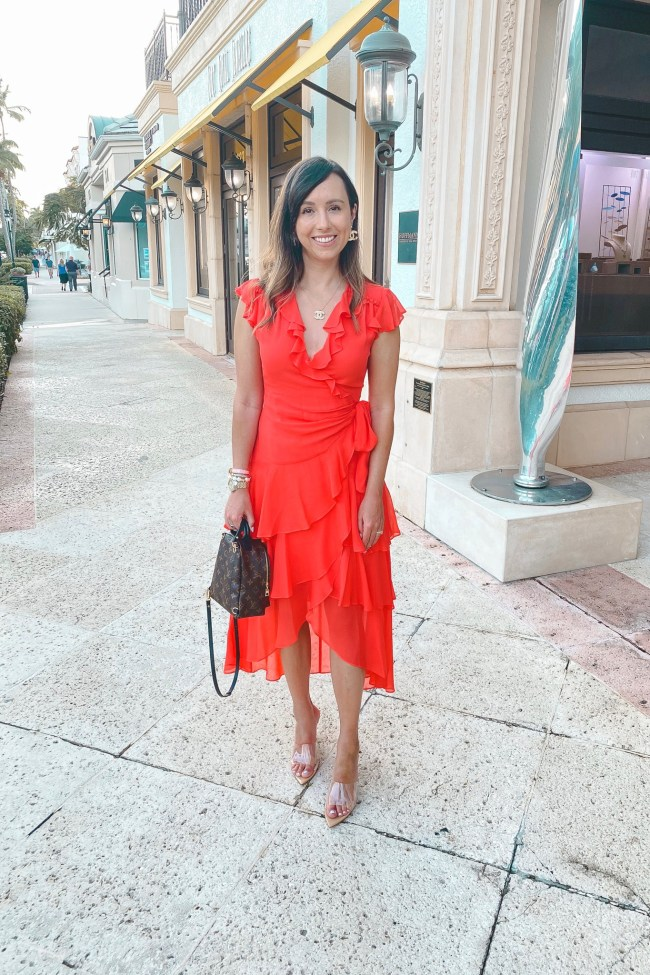 hale bob red dress with louis vuitton palm springs mini and clear heels