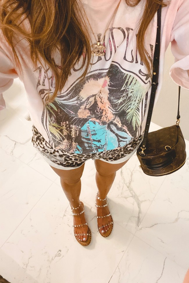 daydreamer janis joplin tee with one teaspoon leopard shorts and steve madden travel sandals