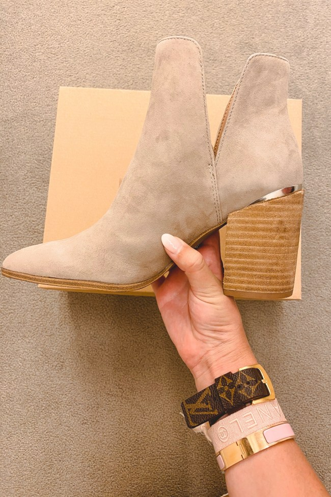 nordstrom anniversary sale 2020 steve madden taupe Kaylah Pointed Toe Bootie