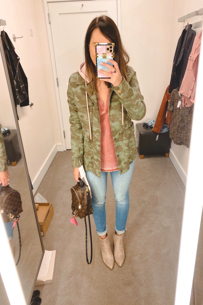 nordstrom anniversary sale 2020 caslon camo jacket with mother jeans