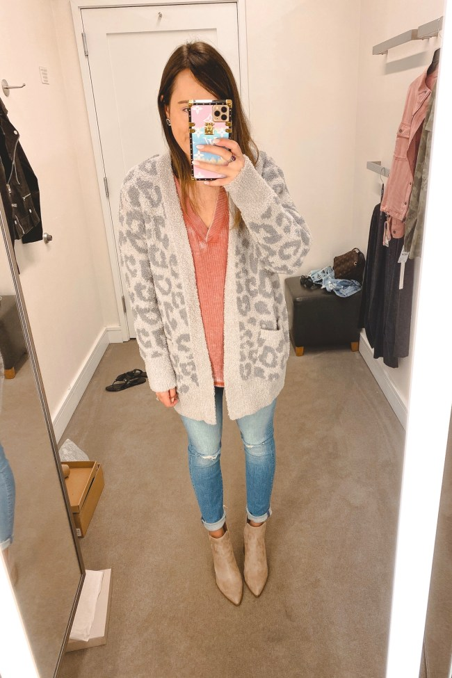 nordstrom anniversary sale 2020 treasure bond thermal with barefoot dreams leopard cardigan